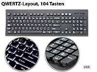 GeneralKeys Beleuchtete Business-USB-Tastatur mit Nummernblock, QWERTZ; iPad-Tastaturen mit Bluetooth iPad-Tastaturen mit Bluetooth iPad-Tastaturen mit Bluetooth